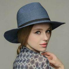 Fashion blue straw panama hat for women UV package sun hats travel wear