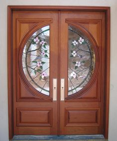 Doors by Decora - Double Doors with Stained Glass Hummingbirds & Dogwoods