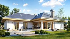 Uroczy - zdjęcie 2 Free House Plans, Simple House Plans, House Layout Plans, Best House Plans, Bungalow Exterior, Bungalow House Plans, Flat Roof House, Facade House, African House