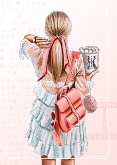 Beautiful Girl Drawing, Cute Girl Drawing, Girly Drawings, Art Drawings Sketches Simple, Girl Cartoon, Cartoon Art, Illustration Mode, Fashion Illustration Chanel, Illustrations