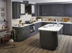 B&Q anthracite kitchen cabinets Modern Farmhouse Kitchens, Farmhouse Kitchen Decor, Diy Kitchen, Home Kitchens, Kitchen Dining, Kitchen Cabinets, Kitchen Ideas, Kitchen Designs, Glass Cabinets
