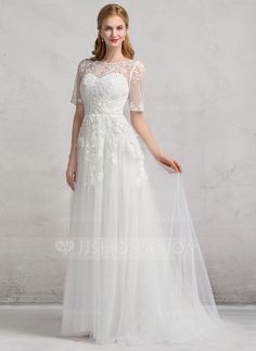 A-Line/Princess Scoop Neck Court Train Appliques Lace Zipper Up Sleeves 1/2 Sleeves Church General Plus No Winter Spring Fall Ivory Tulle Wedding Dress