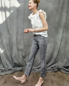 "Introducing the J.Crew women's Sammie chino. Cropped, with a kicky (but not too kicky) hem, for a superflattering fit. These are the chinos for people who are all ""I don't wear chinos."""