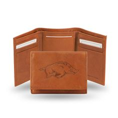 Arkansas Razorbacks Leather Embossed Trifold Wallet