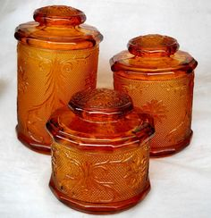 Vintage Indiana Glass Sandwich Canister Set by gasman201 on Etsy,