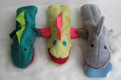 Washcloth Hand Puppets: Great for any shoe box!