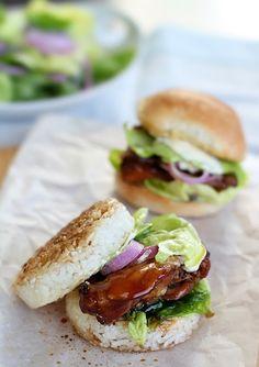 Save this sushi burger recipe to make Teriyaki Chicken Rice Burgers.