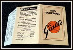 1979 SAN FRANCISCO GIANTS STRAW HAT PIZZA BASEBALL POCKET SCHEDULE FREE SHIPPING…