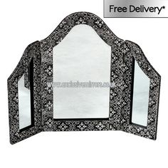 Black embossed three piece dressing table mirror