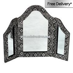 Black embossed three piece dressing table mirror
