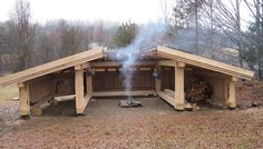 Would be a good backwoods camp. One side stored wood, one side bunks and one side a kitchen