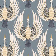 Art Deco Crane Wallpaper | Bird Design | MuralsWallpaper