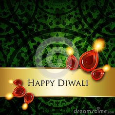 Oil lamps with diwali greetings over dark green  background