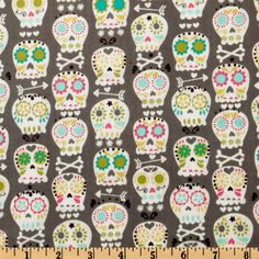 Michael Miller Orchid Grey Bonehead Grey from @fabricdotcom  Designed for Michael Miller Fabrics, colors includes orchid, white, orange, turquoise and lime on a grey background. Use for quilting and craft projects.