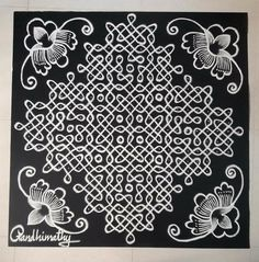Rangoli Designs With Dots, Beautiful Rangoli Designs, Kolam Designs, Kolam Rangoli, Simple Rangoli, Kolam Dots, Free Hand Designs, Muggulu Design, Indian Folk Art