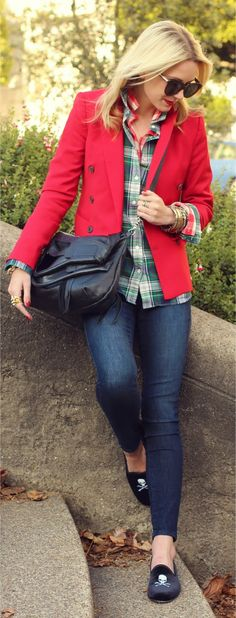 plaid shirt, red blazer and loafers!