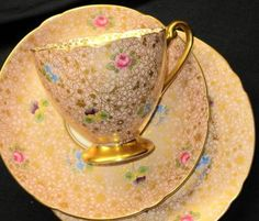 Shelley Rose Pansy Forget Me Pink Chintz Gold Tea Cup and Saucer Trio