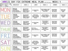 21 Day Fix Extreme sample menu
