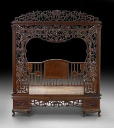 chinese beds | Chinese Canopy Bed : Lot 150