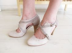 off white and grey heels.
