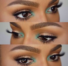 The green on the inner corner of her eyes really completes this look and adds a little something