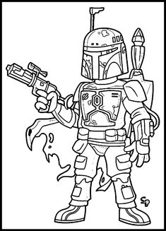 Star Wars Coloring Page Boba Fett See More