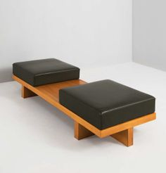"Anonymous; Ash and Leather Bench, 1960s. I would call it the ""first date"" bench....=D"