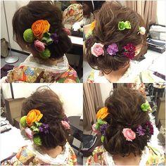和装は生花を付けてもらった 色打掛見せて、お任せします!\( ¨̮ )/♡ って言うてたら、本当可愛いお花用意して下さってた◡̈⃝♩ #和装#和装ヘア#ブライダルヘア#色打掛#トリートドレッシング#treatdressing #プレ花嫁#結婚式準備#前撮り#春挙式#2016swd#5月挙式