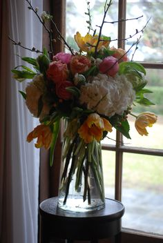 Rainy Wedding, Ceremony Altar Piece, Pink and Orange Wedding Details