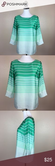 The Limited Green Striped Ombré Button Back Top M Excellent condition The Limited Tops