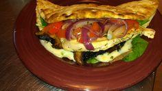 Chicken and Portobello flatbread sandwich