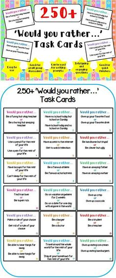 Would You Rather Task Cards Assisted Living Activities, Elderly Activities, Senior Activities, Work Activities, Games For Elderly, Senior Crafts, Activity Games, Beginning Of School, First Day Of School