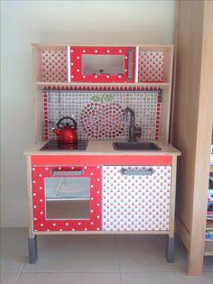 Ikea playkitchen make-over Ikea Play Kitchen, Toy Kitchen, Kitchen Hacks, Attic Conversion Playroom, Woodworking Plans, Woodworking Projects, Ikea Duktig, Ikea Ideas, Babies Stuff