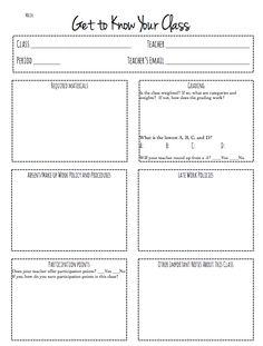 Perfect cover sheet for each class in your AVID binder! Get to Know Your Class