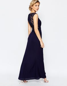 Elise Ryan Maxi Dress With Lace Back Detail
