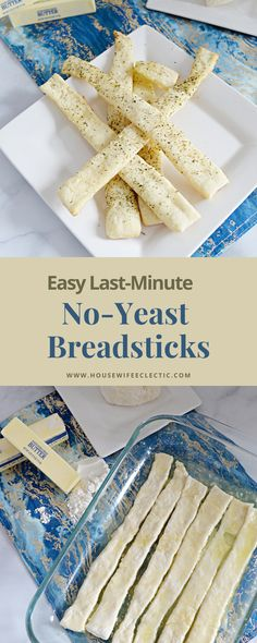 These No-Yeast Breadsticks are easy to make come together in less than 30 minutes and require no yeast! Supper Recipes, Side Recipes, Vegan Recipes Easy, Cooking Recipes, Savory Bread Recipe, Bread Machine Recipes, Bread Recipes, Quick Side Dishes, Muffin Tin Recipes