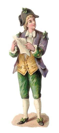 La Lettre - - Jeune Homme Costume  - - Chromo Decoupi  - Victorian Scrap