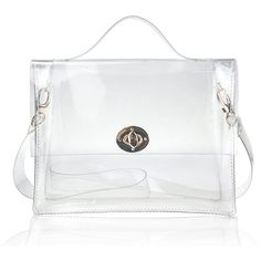 Hoxis Summer Beach Clear PVC Turn Lock Satchel Cross Body Bag DIY... (1,265 INR) ❤ liked on Polyvore featuring bags, handbags, shoulder bags, satchel messenger bag, man bag, handbag satchel, messenger shoulder bag and crossbody satchel
