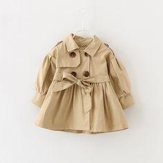Baby Girls Trench Coat- Multiple Colors