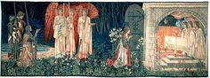 Sixth narrative panel of Holy Grail series. Left: Sir Bors (standing), Sir Percival (kneeling). Three angels hold symbols of Christ's passion; candles, cloth and spear, from which drops of blood fall into a dish. Sir Galahad kneels before Holy Grail.  Quest for the Holy Grail Tapestries - The Attainment; The Vision of the Holy Grail to Sir Galahad, Sir Bors and Sir Percival (V)