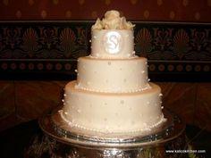 Wedding Cakes- 3 tier, fondant, monogram, large sugar pearls, white roses
