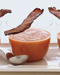 Smoky Tomato Soup with Maple-Candied Bacon Recipe on Food & Wine