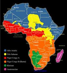 The indigenous languages of Africa are divided into 6 major language families: Afroasiatic, Nilo Saharan, Niger-Congo A, Niger-Congo B (Bantu), Languages Of Africa, World Languages, African Culture, African American History, Black History Facts, Strange History, African Countries, African Tribes, World History