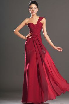 Elegant & Luxurious Dropped Waist One Shoulder Pleated Bodice Sleeveless Misses Chiffon Evening Dress