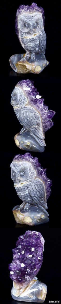 Amethyst Druse Agate Carved Crystal Owl Sculpture. Locality: China, Size: 54 x 54 x 98mm, Photo Copyright © Rikoo