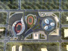 on Behance Paralympics Project Visualization. on Behance Architecture Concept Diagram, Landscape Architecture Drawing, Parametric Architecture, Architecture Panel, Futuristic Architecture, Architectural Section, Architectural Design House Plans, Architect Design, Stadium Architecture
