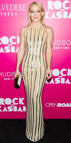 Kate Hudson sizzled at the premiere of Rock the Kasbah in a liquid gold embellished column, complete with Lorraine Schwartz diamonds and a white-and-gold box clutch.