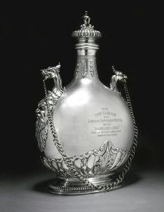 A large Irish silver pilgrim flask, West & Sons, Dublin, 1909.