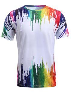 Colorful Splash-Ink Print Round Neck Short Sleeve T-Shirt For Men Camisa Nike, Camisa Polo, Playeras Dry Fit, Tie Dye Techniques, Tie Dye Shirts, Sammy Dress, T Shirt Diy, Short, Neck T Shirt
