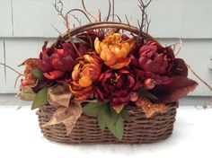 Rustic Twig Basket Thanksgiving Floral Arrangement /Fall Color Peonies/ Red, Copper, Rust Faux Floral Centerpiece. Elegant Rustic, Dramatic.